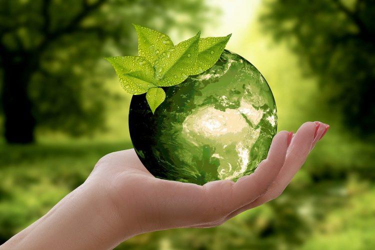 main tenant une planète terre miniature de couleur verte